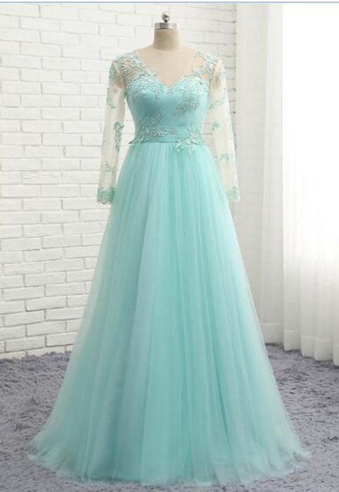 Mint tulle simple V neck plus size formal prom dress with