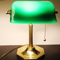 Vintage Banker's Desk Lamp | Green Glass Shade | Solid ...