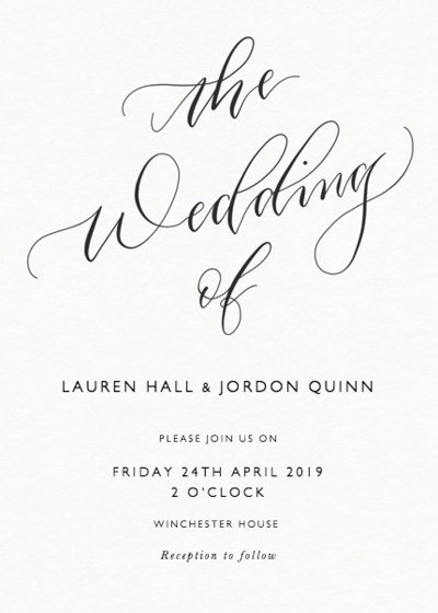 The Wedding Of Calligraphy  Wedding Invitation  Papier