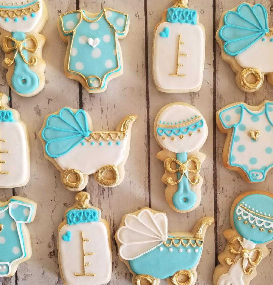 Baby Blue and Gold baby cookies  Hayley Cakes and
