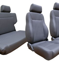 premium seat kit front buckets w fold tumble seat gray w brackets [ 1440 x 810 Pixel ]