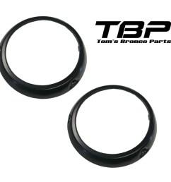 black headlight bezel rings 66 70 ford bronco pair [ 2504 x 2504 Pixel ]