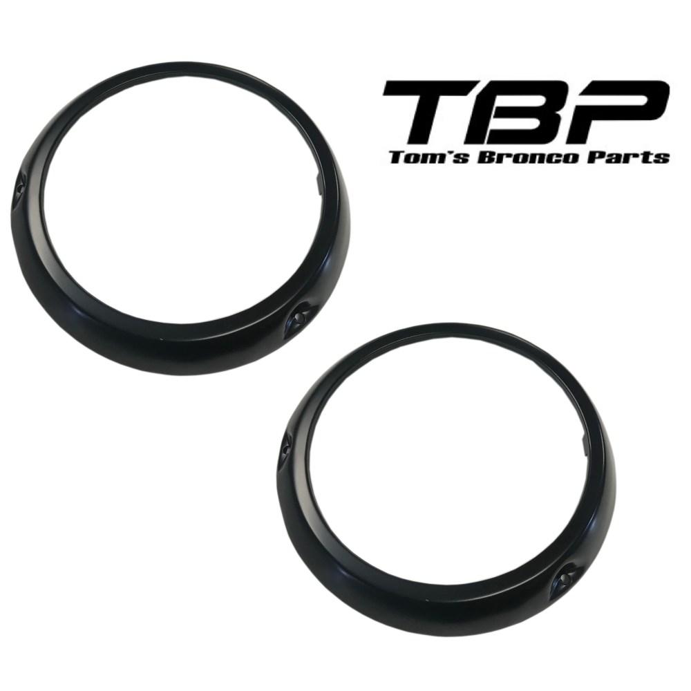 medium resolution of black headlight bezel rings 66 70 ford bronco pair