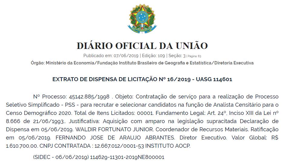 Trecho do Diário Oficial da União sobre concurso do IBGE
