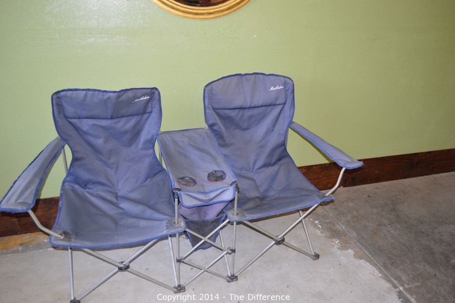 double camping chairs folding clearance chair covers for sale the difference auction antiques collectibles household items glassware and so much more item maccabee camp