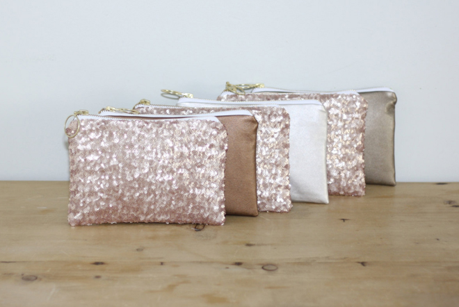 Sequin and leather bridesmaids bags from Almquist Design Studio