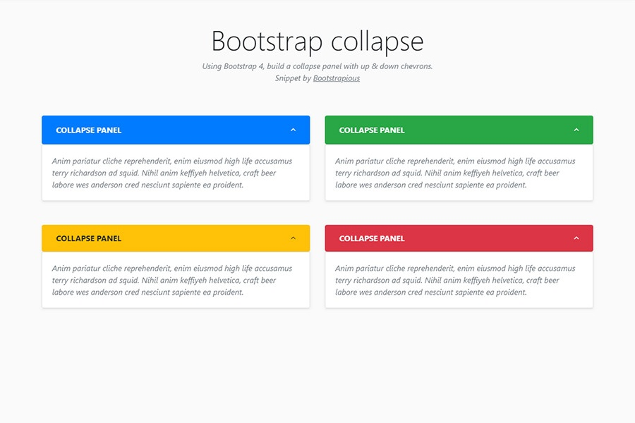 Bootstrap collapse panel - HTML & CSS snippet template