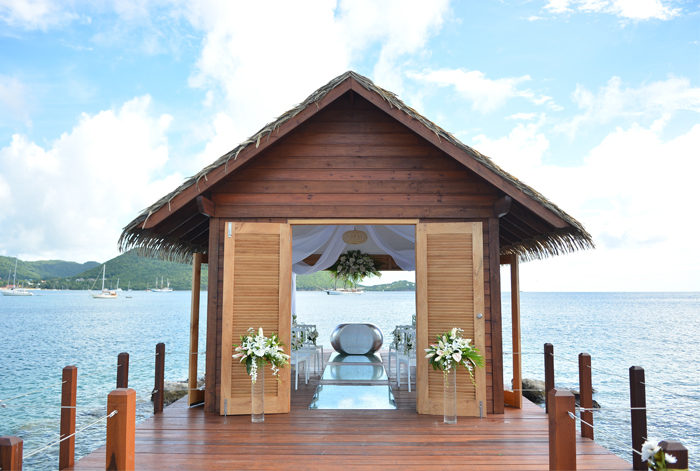Overwater Serenity Wedding Chapel at Sandals' most unique wedding venue, Sandals Grande St Lucian