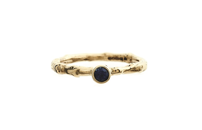 Gold ring with blue topaz stone (£285) Badger and Baird
