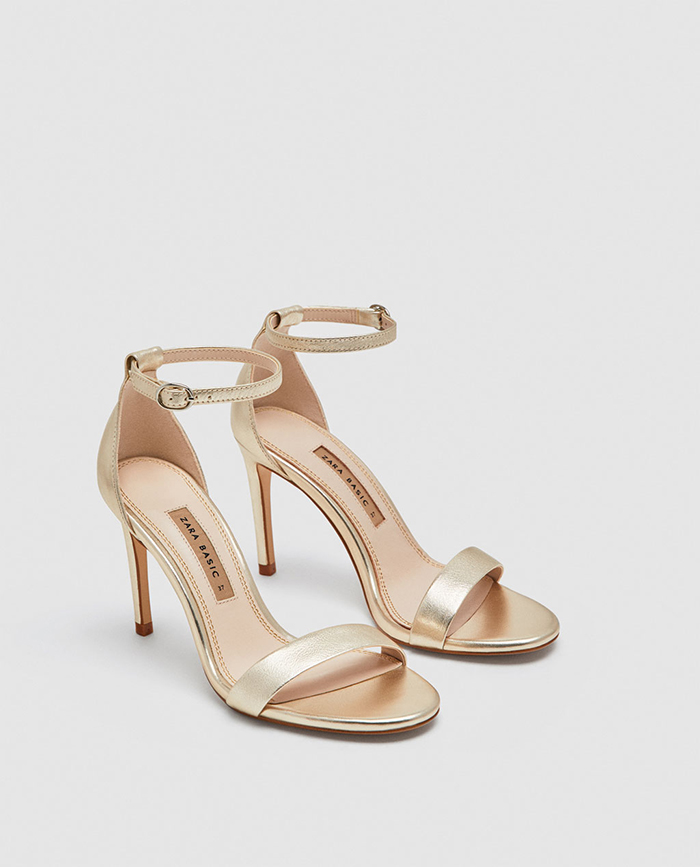e2fbe97034a Metallic simple strappies are an effortless bridal style. Leather high heel  sandals ...