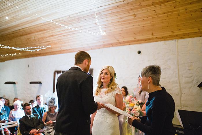 Dalduff Farm rustic barn wedding The Gibsons ceremony vows