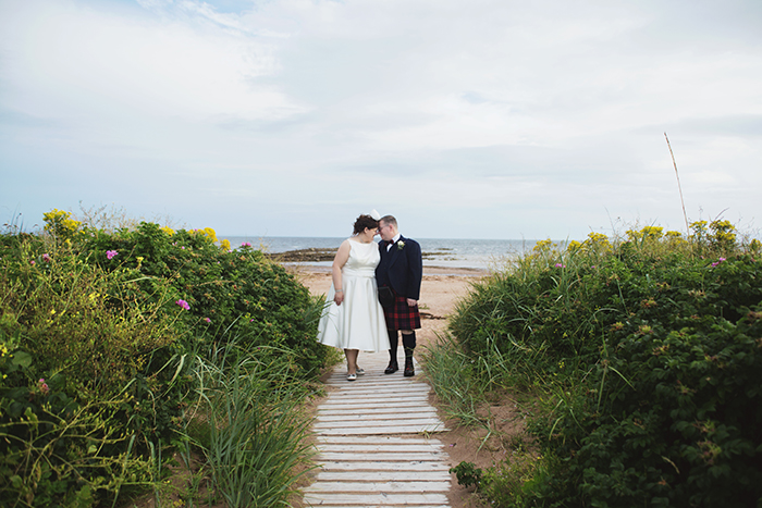 Real Wedding at The Waterside Hotel Ayrshire. Laura A Tiliman Photography. Couple by beach