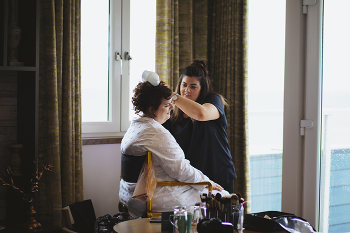 Real Wedding at The Waterside Hotel Ayrshire. Laura A Tiliman Photography. Bride gets make-up done