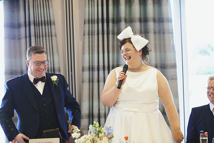 Real Wedding at The Waterside Hotel Ayrshire. Laura A Tiliman Photography. joint speech