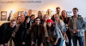 The great team of the #Instawalk photographers at the VERNISSAGE of #InLoveWithSwitzerland #Postcards,
