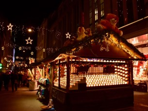 Christmas tents next to Globus on Bahnhofstrasse