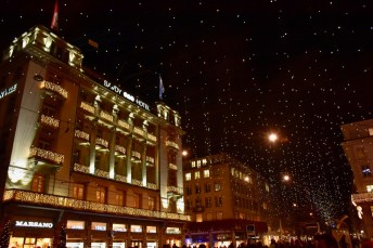 "Christmas lights, called ""Lucy"", on the Bahnhofstrasse in Zurich"