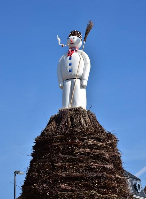 Zurich spring festival, snowman on the haystack