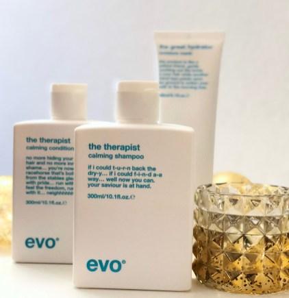 EVO the therapist hydrating shampoo, EVO the therapist hydrating conditioner, EVO the great hydrator moisture mask