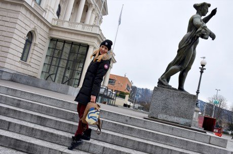 Zurich Opera House, Style details: backpack - ELEPHBO, coat - CANADA GOOSE, beanie - KARL LAGERFELD, pants - MASSIMO DUTTI, boots - NAVYBOOT
