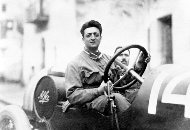 Enzo Ferrari with the mechanic Michele Conti. The car is an Alfa Romeo 20-40 HP. Ferrari's first race with Alfa. He finished in 2nd place overall (1st category).