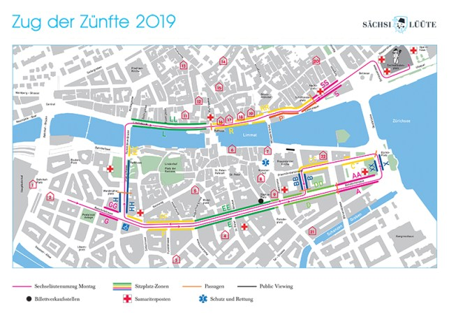 The map of the parade-route, seating places and public views