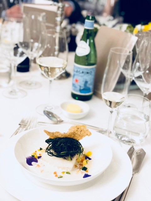 S.Pellegrino Sapori Ticino 2018, the Gala Dinner at the Hotel Schweizerhof Bern & THE SPA. Served: Filet of black cod, coconut-lemongrass sauce, monk's beard.