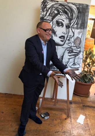 Marc Ferrero live painting at the presentation in Zurich