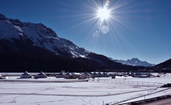 The sport village on the frozen lake of St. Moritz