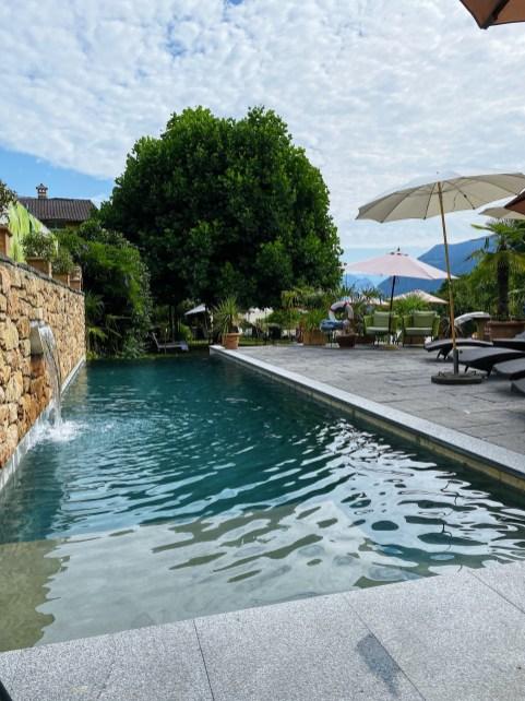 The new swimming pool at the Hotel Villa Carona, Switzerland