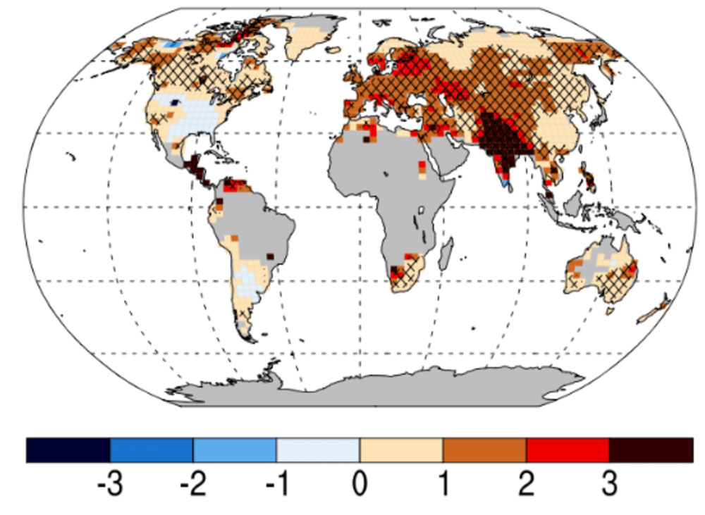 Global trends in 'warm spell duration index', which shows that the duration of heatwaves in India has increased markedly relative to the 1961-90 average. Data are also available via www.climdex.org. J. Geophys. Res.