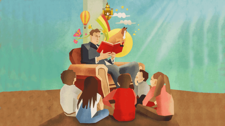 Colorful graphic image of a man sitting in a chair, reading a book to children seated around him