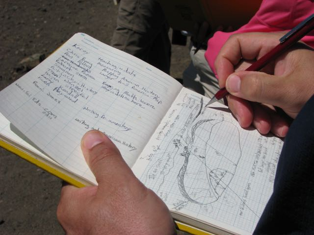 Photograph closeup of notes in notebook during field project