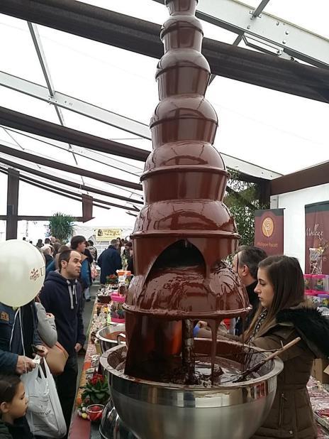 A chocolate fountain at the 2019 Festichoc