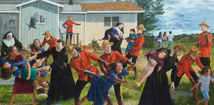 The Scream, by Kent Monkman (2016), is part of a traveling exhibition this year on colonized Canada: Shame And Prejudice: A Story Of Resilience