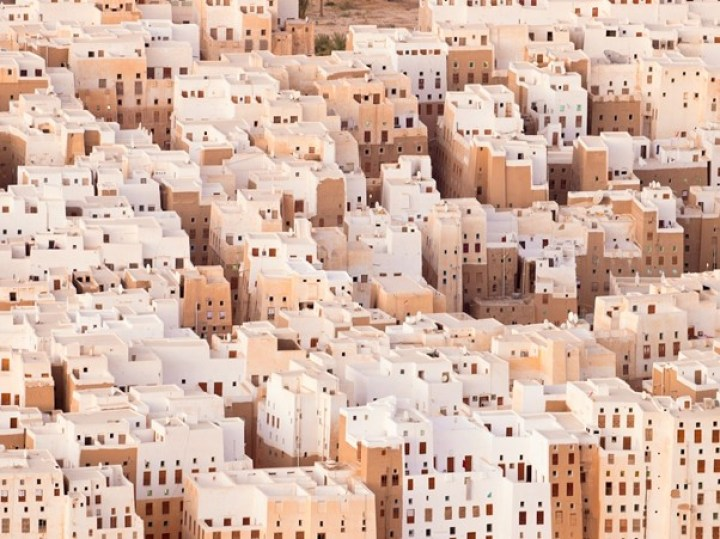 The city of Shibam's 500-year-old skyscrapers covered in white limestone