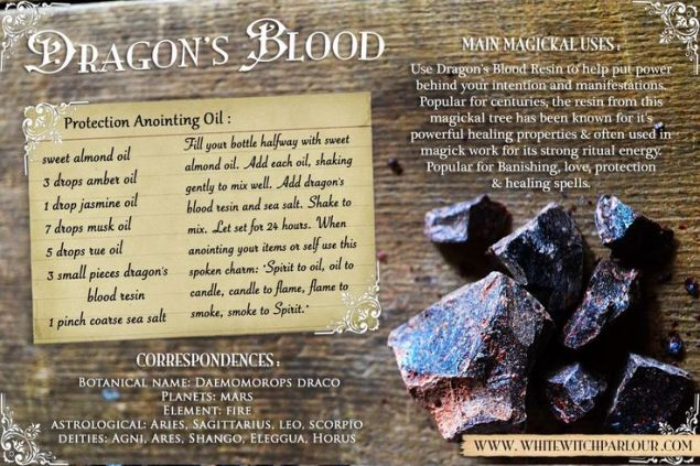 A dragon blood protection spell written on a sheet of paper with a brown black ground and an image of dragon blood crystals