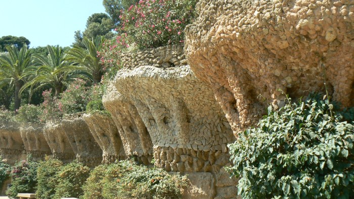 The terraced walls in the park.