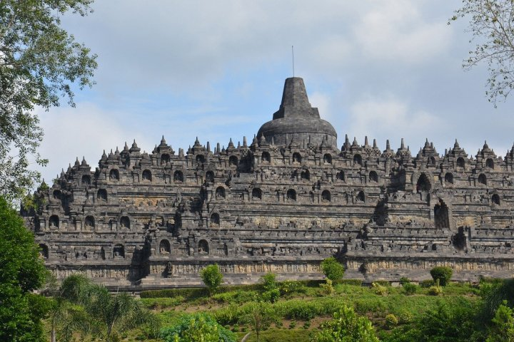 Photo of one side of the Borobudur Temple.