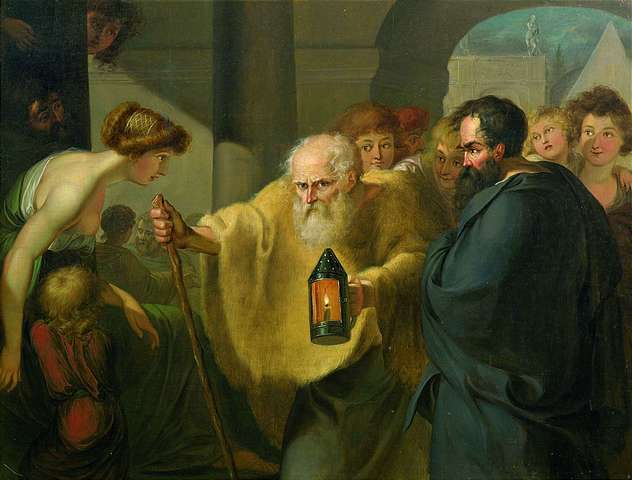 A painting of Diogenes walking through the streets, holding his lantern.