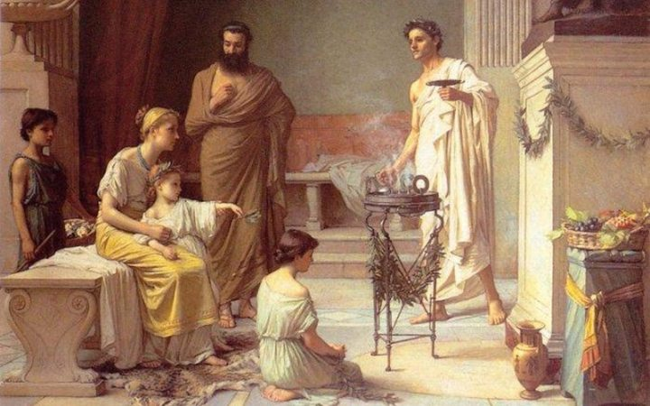 A family in Ancient Greece, the ill mother seated with her son while family hear the news of the doctor.