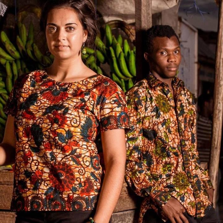 man and woman wearing kitenge fabric shirt
