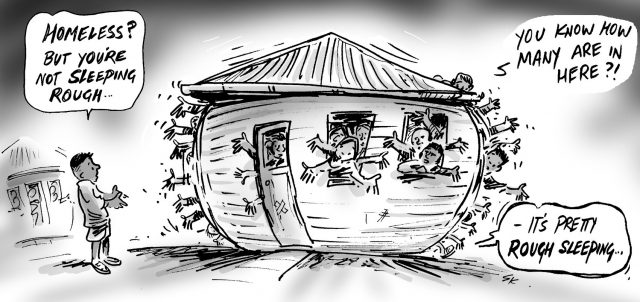 A cartoon image of a house bursting with people and a person outside suggesting homelessness means sleeping rough