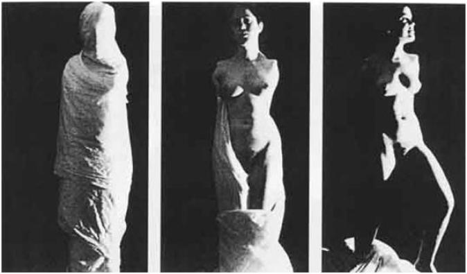 a black and white image of the disabled artist , born with no arms, standing as a statue in three different compositions, first covered with fabric, seconly naked, direct gaze to the camera, thirdly looking towards left with her left leg taking a step