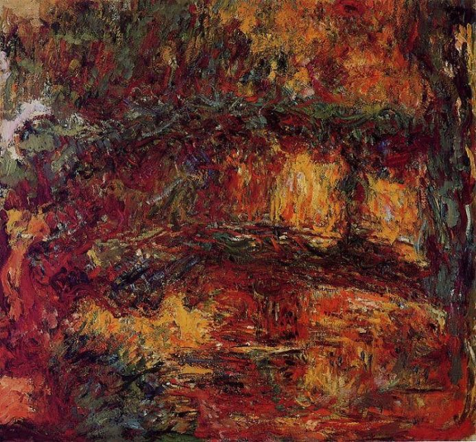 an image of a Japanese bridge painting by Monet, which is dominated by color red and blurry water lilies fading into each other