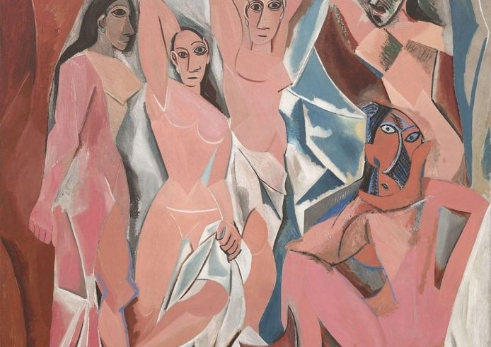 a painting by Picasso, which presents 6 naked , some standing and some sitting, in cubist and fragmented forms