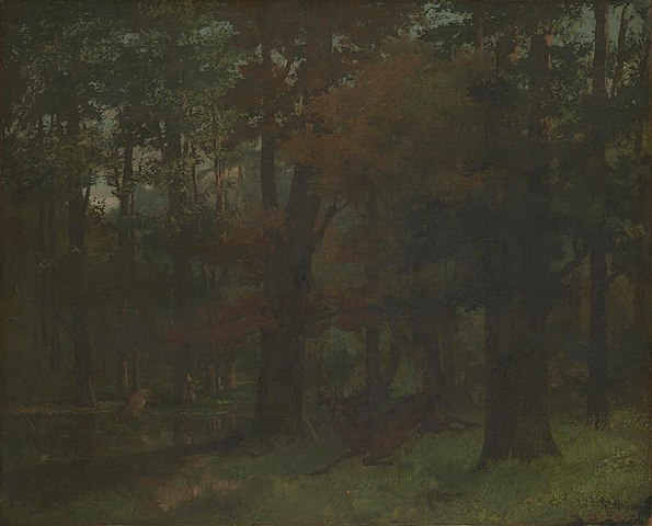 Painting of forest at night titled In the Forest