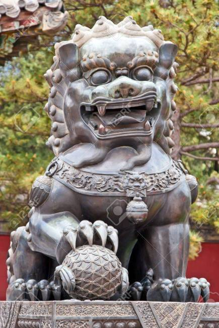 Chinese guardian lion image in a stone sculpture, often acting as a part of urban legends in China.