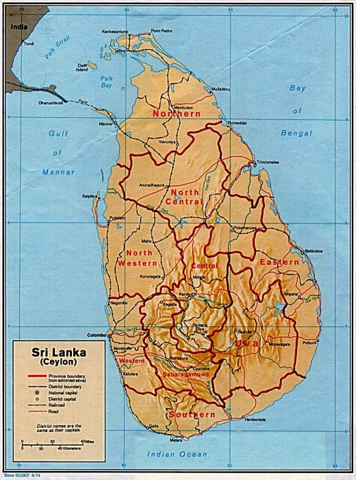 This image shows a map of Sri Lanka, which lies off of the coast of the Indian subcontinent.