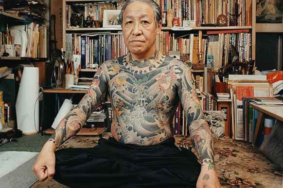 A yakuza member with his elaborate tattoos
